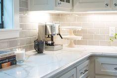 New kitchen backsplash subway tile fixer upper ideas Gray Subway Tile Backsplash, Backsplash For White Cabinets, Beveled Subway Tile, Grey Subway Tiles, Dark Kitchen Cabinets, Kitchen Backsplash, Upper Cabinets, Marble Countertops, Fixer Upper Kitchen