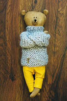 this Brummi bear wearing a gray woolen sweater is **made to order**  Orders can take up to 10-12 DAYS to be finished and shipped I will send you a