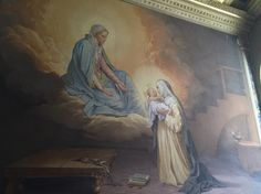 Catherine in love with the Infant Jesus, given her by Mary. From the House of St Catherine, Siena