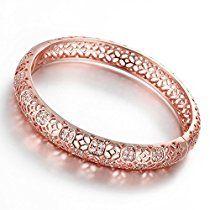 Dilanco 18K Rose Gold Plated Multi-Gemstone Hollow Bangle Bracelets