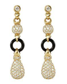 18k Diamond & Black Agate Earrings by Lagos at Neiman Marcus. $16500