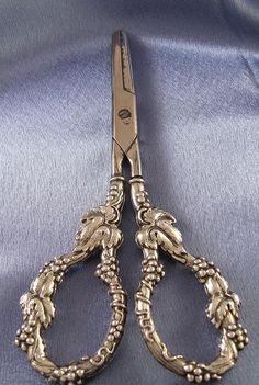 Antique Sterling Silver Handle Grape Shears, Roger Williams Silver Co of Providence, Rhode Island