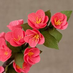 Coral Blossoming Twig / Paper Flowers- Paper Anniversary- 1st Anniversary- Paper Flower- Paper Decor- Crepe Paper Flowers