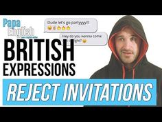 Do you get invited to things and hate meeting other people! Today's English lesson is perfect for you! If you lik. English Lessons, Other People, Letting Go, British, Invitations, Let It Be, Teaching, Sayings, Youtube