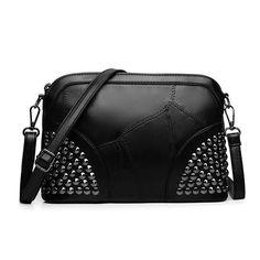 BARHEE Design Genuine Leather Women Handbag Patchwork Sheep Leather Small Messenger Shell Shoulder Bag Rivets Zipper Black