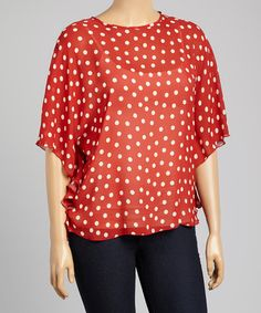Another great find on #zulily! Red Sheer Polka Dot Cape-Sleeve Top - Plus by Boom Boom #zulilyfinds