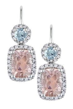 10K White Gold Sky Blue Topaz, Morganite & Diamond Halo Leverback Earrings
