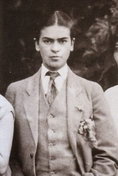 Rare and Beautiful Portraits of Young Frida Kahlo by Her Father Guillermo Kahlo, Frida in men's clothing, 1926