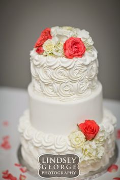 Pretty three tier spring wedding cake click to view full gallery wedding reception at DC Centre Omaha Nebraska