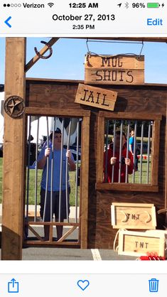 Western jail prop- looks like this is a kit. Does the wood and bars come with it? Wild West Theme, Wild West Party, Cowboy Party, Halloween Decorations, Halloween Party, Train Decorations, Halloween 2019, Western Centerpieces, Old Western Towns