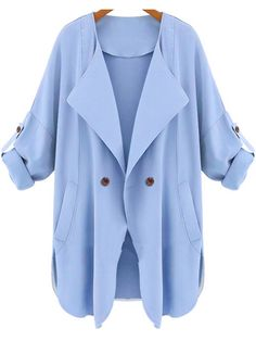 Blue Long Sleeve Pockets Trench Coat — 23.68 € ------------------color: Blue size: L,M,S,XL