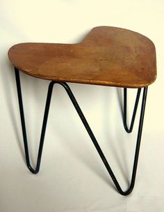 Jacques Hitier; Wood and Painted Metal Stool for Tubauto, 1950s.