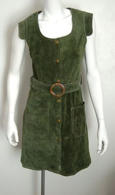 5aba6fa0c9 1970's moss green suede mod dress by Suede & Leathercraft limited/made in  England