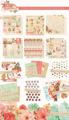 Sweet Peppermint is a new collection, created by our very own Frank Garcia!! This gorgeous collection features beautiful mints, pinks, and muted reds to give your Christmas projects and layouts a fresh twist on vintage. And look at all of the new embellishments to play with! Frank created Chipboard Shapes, Druzy Stones, Say it in Crystals, Journaling Cards, a Snow Globe Stamp & Die sets, Watercolor Resist Tags...you name it, it's here! #christmas #pastels #vintage