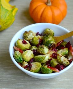 Roasted Brussels Sprouts with Apples and Cranberries - looks SO good