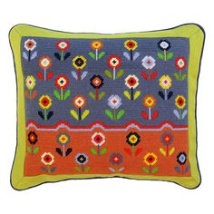 Ditsy Daisies new floral tapestry kit, a wonderful addition to our Bloom range of kits. Cross Stitch Cushion, Cross Stitch Rose, Cross Stitch Embroidery, Embroidery Patterns, Stitch Patterns, Tapestry Kits, Tapestry Design, Knitted Squares Pattern, Tent Stitch