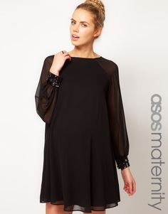 ASOS Maternity Swing Dress With Jewelled Cuffs