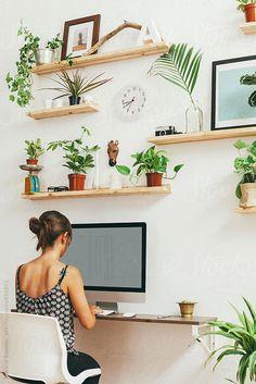Trendy Home Office Design For Women Shelves Ideas Office Workspace, Home Office Desks, Office Furniture, Office Decor, Office Ideas, Desk Ideas, Office Designs, Furniture Ideas, Zen Office
