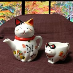 Japanese calico cat tea pot and tea cup.