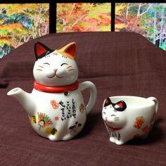 Japanese calico cat tea pot and tea cup.