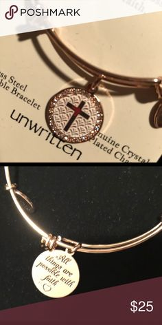 FAITH bracelet Stainless steel adjustable bracelet. Pretty rose gold color Unwritten Jewelry Bracelets