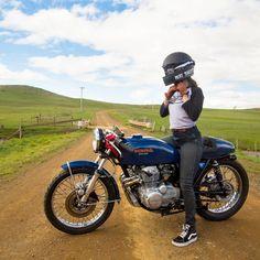 @katieabdilla on her sweet Honda CB400F Cafe Racer