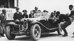 1933. The winning Alfa Romeo 8C 2300 MM Zagato at a checkpoint. The Ferrari team car was driven by Nuvolari/Compagnoni.