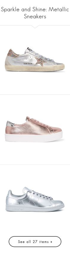 """""""Sparkle and Shine: Metallic Sneakers"""" by polyvore-editorial ❤ liked on Polyvore featuring metallicsneakers, shoes, sneakers, silver, metallic shoes, beige sneakers, leather lace up shoes, leather lace up sneakers, lacing sneakers and metallic"""