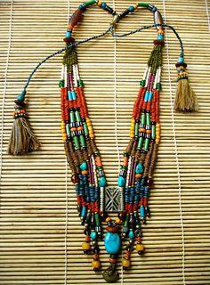 My Tribe ~ (by AowDusdee) Steam Punk Jewelry, Funky Jewelry, Tribal Jewelry, Bohemian Jewelry, Beaded Jewelry, Jewellery, Fiber Art Jewelry, Beaded Cuff Bracelet, Southwestern Jewelry