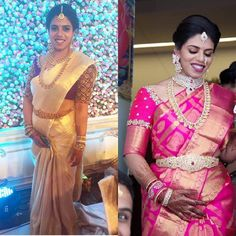 Left: Bride in off white silk saree with contrast purple color elbow length work blouse , simple kundan, stones and zardosi work embellis...
