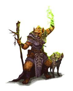 Female Gnoll Hyena Druid - Pathfinder PFRPG DND D&D 3.5 5th ed d20 fantasy