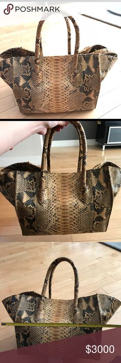 Bespoke custom made yellow python bag Bespoke one of a kind custom made matte yellow python tote! Interior is lined with a vintage cavali scarf... can fit your kitchen sink!😂😂😂😜. No box or dust bag avail Bags Totes