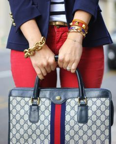Gucci.... red skinny jeans + nautical striped top + navy boy blazer + classic vintage gucci bag & of gold jewelry! GUCCI BAGS Designer Handbags #GUCCI#