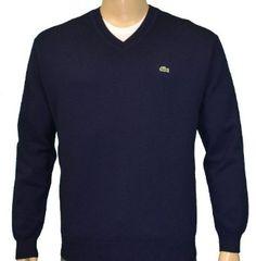Lacoste Men's V-Neck Wool Croc Logo Sweater $150