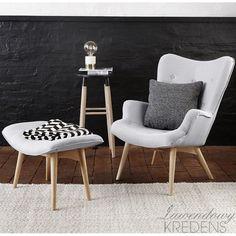 Fotel w stylu skandynawskim w komplecie z podnóżkiem. Więcej na http://lawendowykredens.pl/pl/meble-hubsch/4030-fotel-w-stylu-skandynawskim.html
