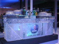 Ice Bar with #Saab logo within It doesn't matter what you do - a logo in ice will always grab attention #LiveIceCarving #brandLaunch #events #exhibitions #CorporateLogos #EventIdeas #IceSculpture #VodkaLuge #Icebar