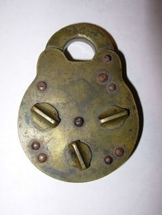 Antique 1872 3 Dial Combination Padlock Lock Langenau