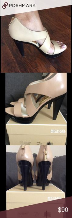 "Michael Kors Elena Leather Platform ❤️ NWOT❤️ Michael Kors 'Elena' Leather Platform! Taupe color. Back Zip Closure. Leather upper/ leather and synthetic lining/ rubber sole. NWOT💕 Heel: 4"" Platform: 1"".  Size: 8. Comes w/ box but  its not the right box for the shoe. ❌NO TRADES❌NO PPL❌NO HOLDS❌ Michael Kors Shoes Sandals"