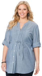 7f07e3303 Motherhood Plus Size Convertible Sleeve V-neck Button Front Maternity Shirt  on shopstyle.com