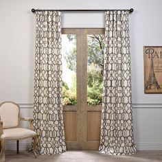 Ashford Gray 120 x 50-Inch Printed Cotton Curtain Single Panel