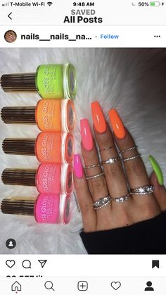 If you have problem with long nails, then try Acrylic Nails or artificial nails. Listed below are the Best Acrylic Nails Ideas for 2019 to take inspiration. Neon Acrylic Nails, Neon Nails, Swag Nails, Bright Nails Neon, Bright Nails For Summer, Colorful Nails, Nails Summer Colors, Neon Nail Colors, Summer Nails Neon