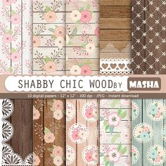 """Roses and wood digital papers: """"SHABBY CHIC WOOD"""" with flowers and wood digital…"""