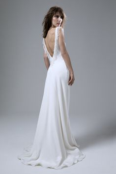 Back view of the Vera bias cut backless silk crepe dress with french embroidery…