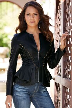 Faux leather lace-up jacket