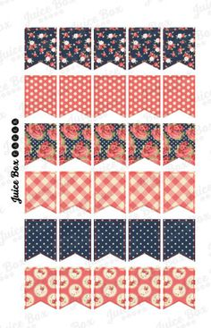 Set of 30 Assorted Navy/Red Vintage Floral Patterned Flag Stickers for Planners, Journals, and Calendars.