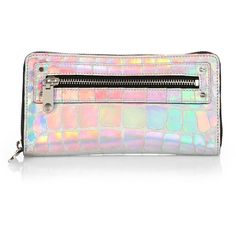e0dc3d940cb7a MILLY Tatum Textured Hologram Zip-Around Wallet ( 90) ❤ liked on Polyvore  featuring