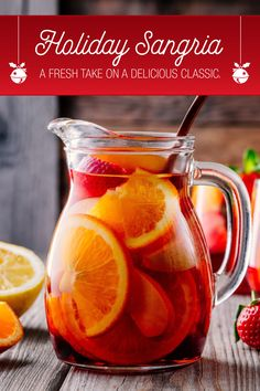 Liven up your next party with this holiday twist on classic sangria. Start with DOLE® Pineapple Juice, red wine, and a touch of brandy to make this sangria that's perfect for winter get-togethers. You'll leave your guests wondering what's your secret. Holiday Sangria, Christmas Cocktails, Holiday Drinks, Party Drinks, Cocktail Drinks, Fun Drinks, Yummy Drinks, Holiday Recipes, Summer Cocktails
