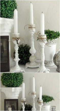 Shabby chic is a soft, feminine and romantic way of decoration style that looks comfortable and inviting. Are you passionate about the shabby chic interior design and decoration? Check out these awesome shabby chic decor diy ideas & projects. Old Lamps, Flea Market Finds, Flea Markets, Lamp Bases, Diy Projects To Try, Pillar Candles, White Candles, Diy Furniture, Furniture Plans