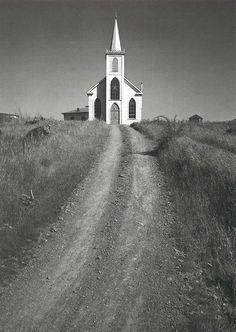 Ansel Adams, Church and Road, Bodega, California  c. 1953.