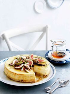 Australian Gourmet Traveller Greek dessert recipe for goat's cheese cake with figs and honey. Fig Recipes, Honey Recipes, Gourmet Recipes, Sweet Recipes, Baking Recipes, Dessert Recipes, Dairy Recipes, Greek Desserts, Just Desserts